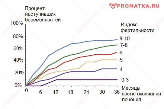 Индекс фертильности и беременность – график